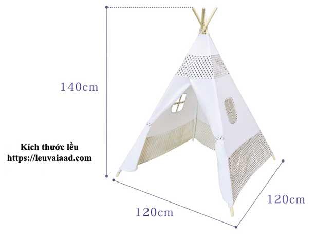 kích thước lều cho bé trai