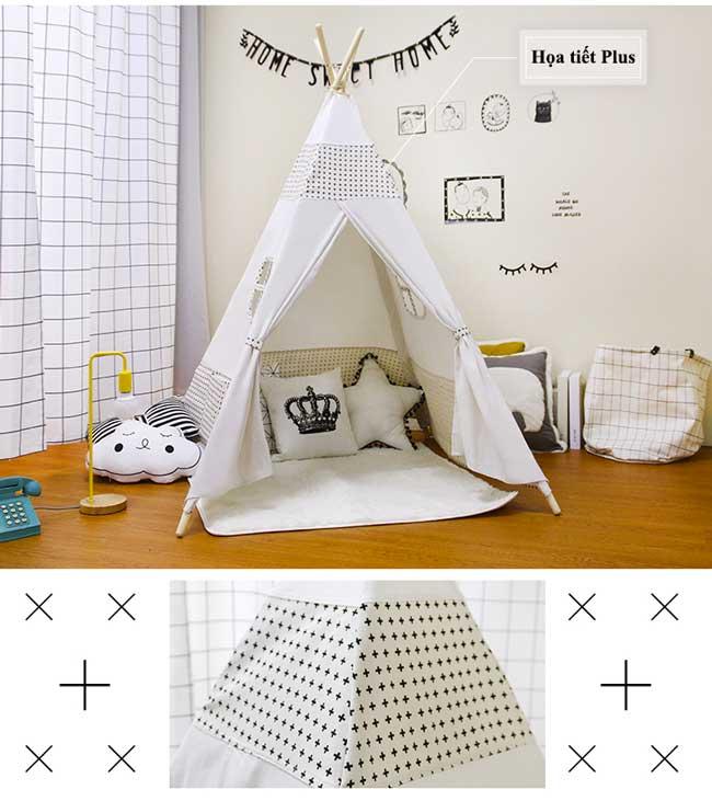 lều vải cho bé trai đẹp, Lều họa tiết kẻ Plus (phong cách Ấn Độ).