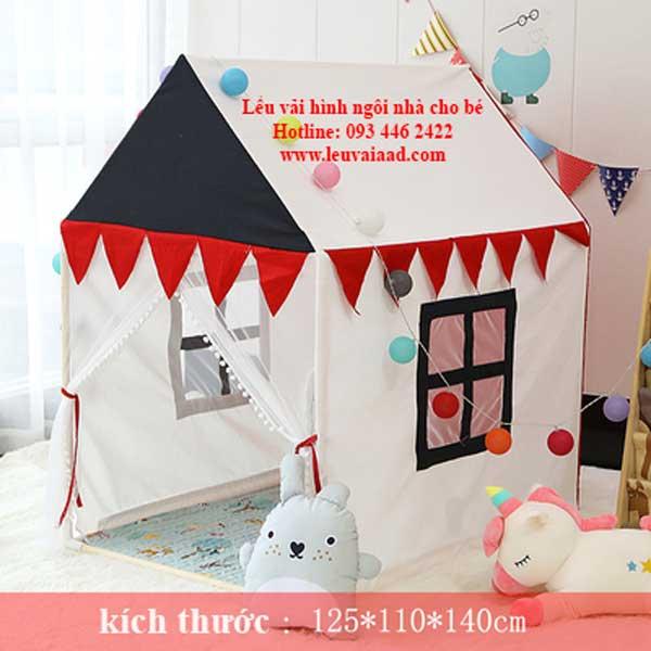 lều vải cho bé hình ngôi nhà cửa màu đen